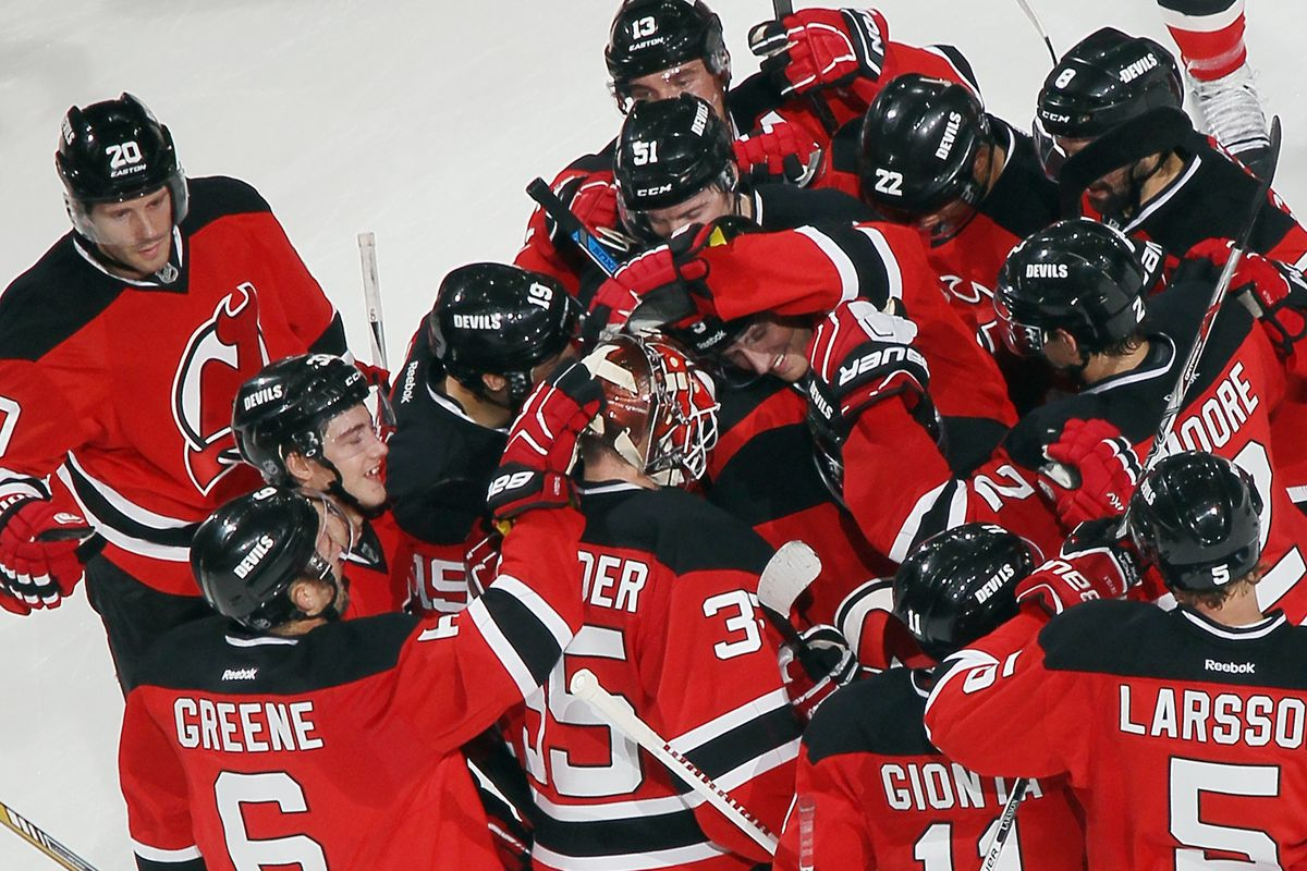 The Devils celebrated their last preseason game as they won it.  Now, the real games begin.