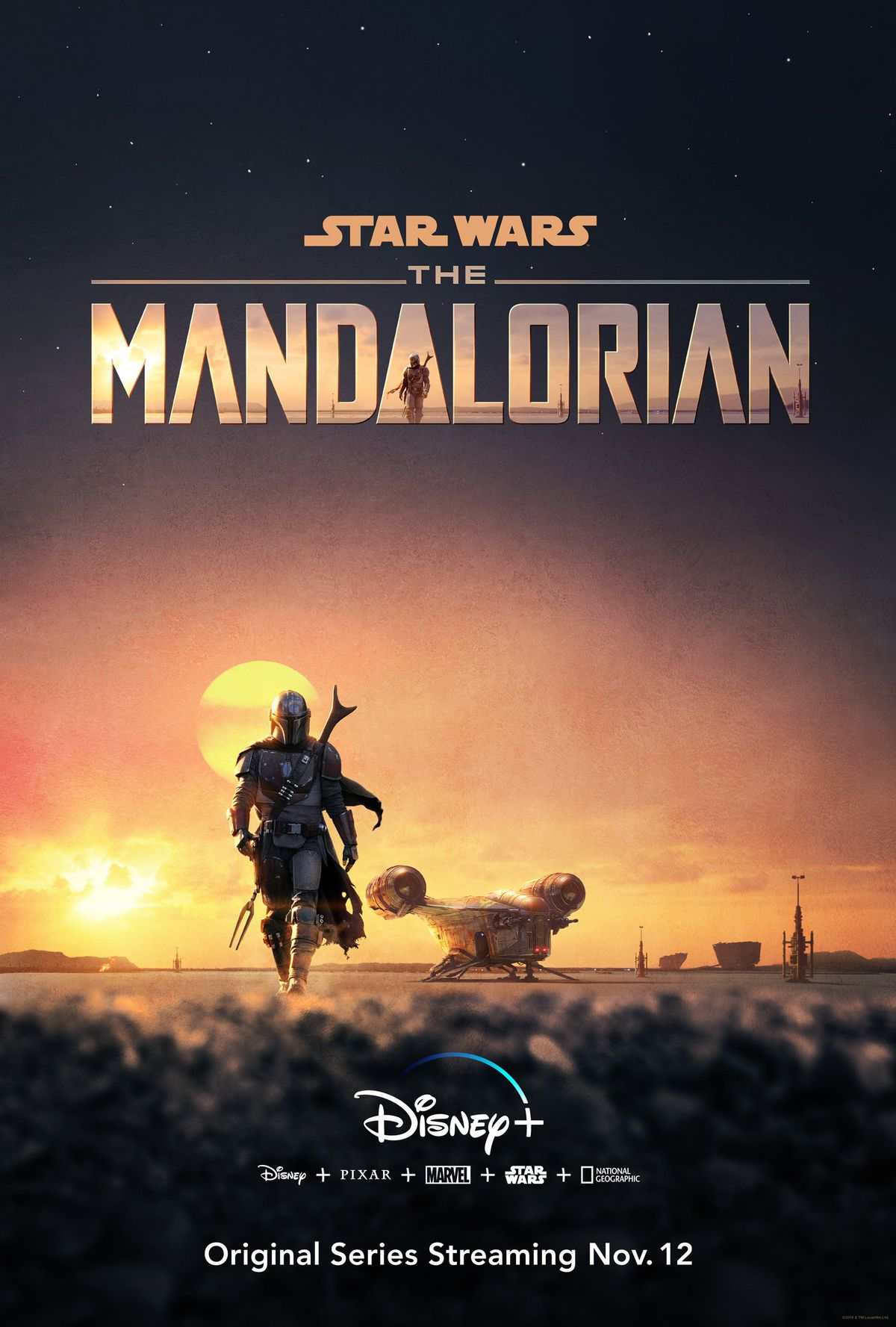 a lone gunslinger in mandalorian gear, a space ship in the distance, the sun is setting behind him