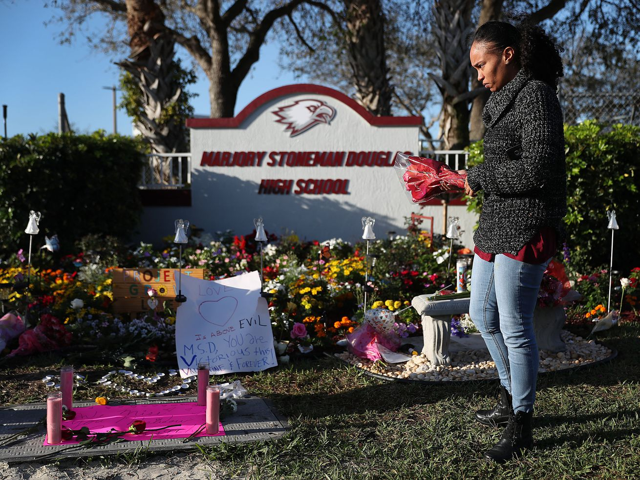 A memorial to students killed in the Parkland school shooting on February 14, 2018. More than a year later, Florida legislators have expanded a program allowing teachers to be armed in schools.