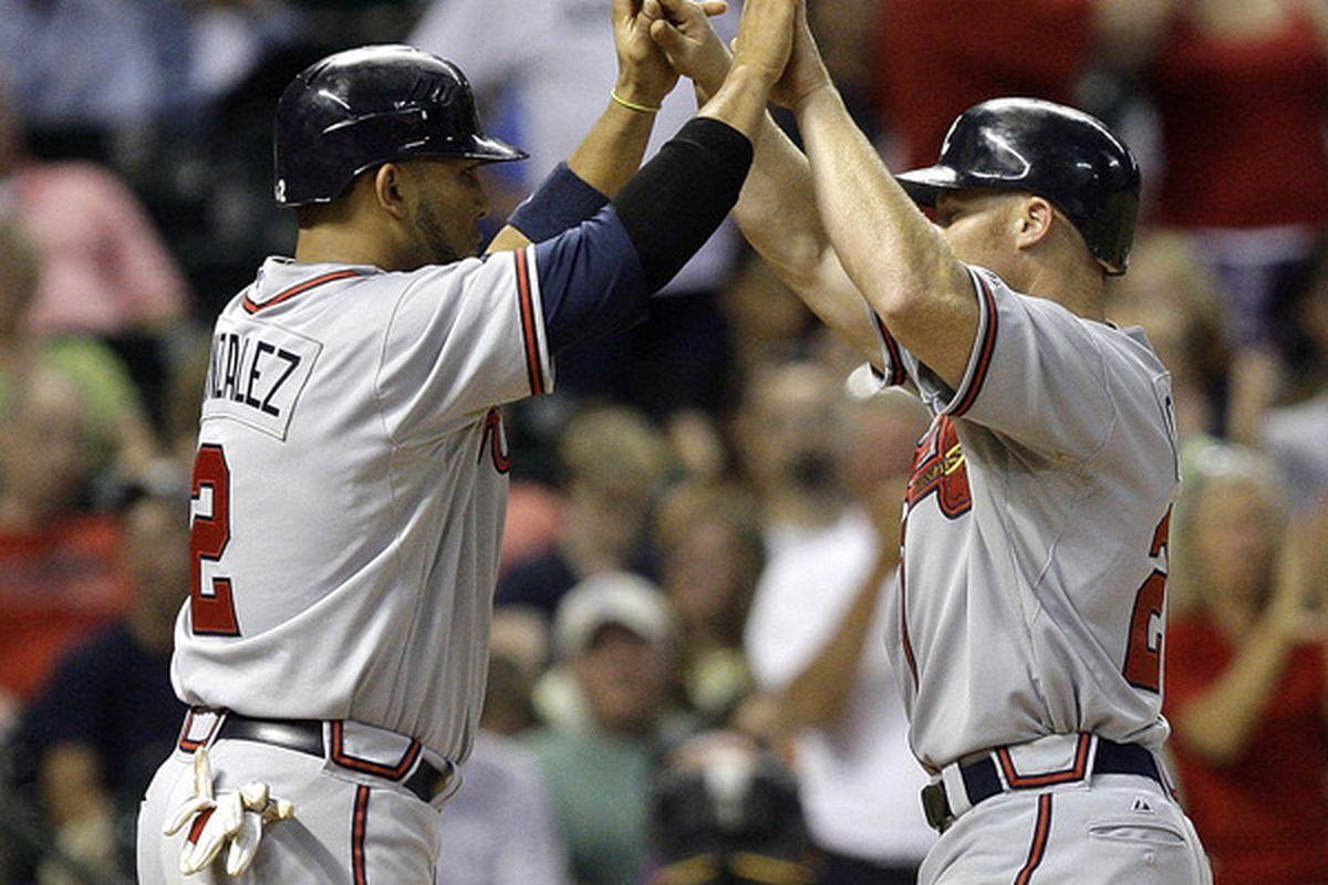 Brooks Conrad and Alex Gonzalez scored the tying and go-ahead runs on Conrad's sixth homer of the season.