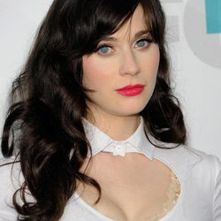"""FILE - In this May 14, 2012 file photo, actress Zooey Deschanel from """"New Girl"""" attends the FOX network upfront presentation party at Wollman Rink, in New York. Deschanel, a 2012 Emmy nominee, says that a glass of water and taking a deep breath help calm her award show nerves."""