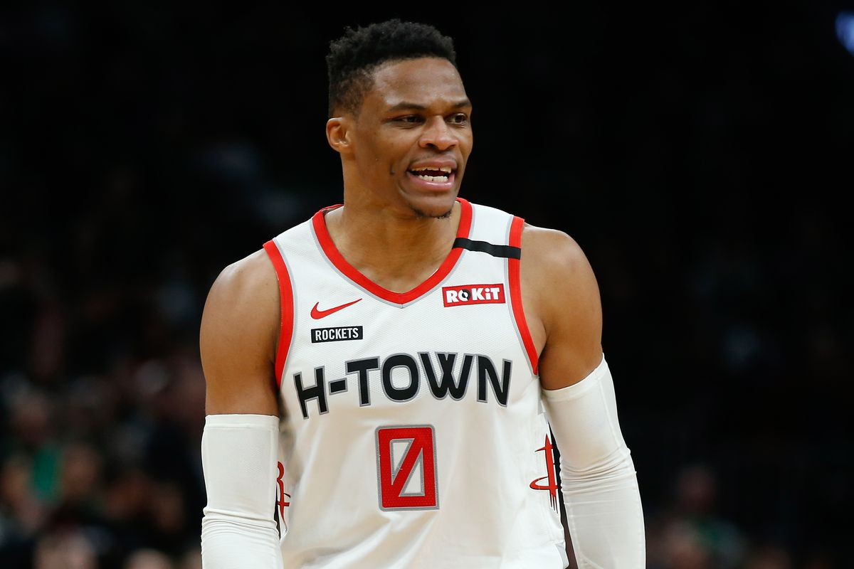 Houston Rockets guard Russell Westbrook during the second half against the Boston Celtics at TD Garden.