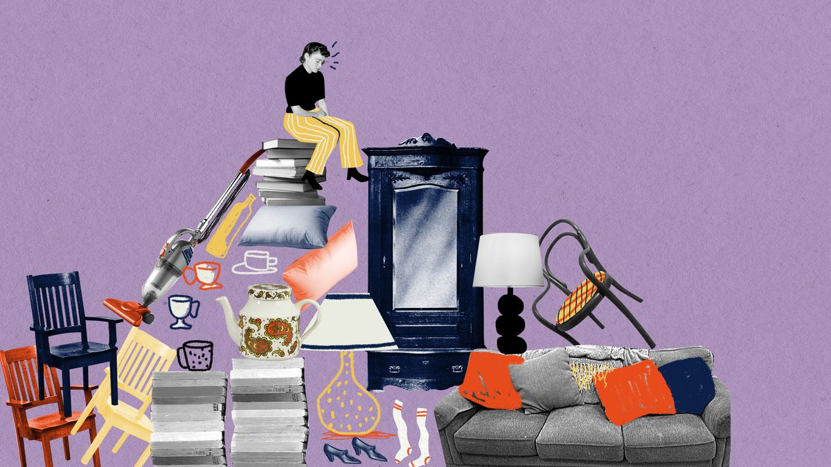 A woman sits with arms crossed and bowed head on top of a large pile of home goods. Illustration.