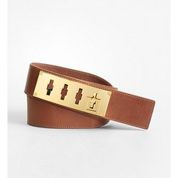 """<b>Tory Burch</b> Keyhole Belt in brown, <a href=""""http://www1.bloomingdales.com/shop/product/tory-burch-keyhole-belt?ID=562134&CategoryID=3631#fn=spp%3D77%26ppp%3D96%26sp%3D1%26rid%3D52"""">$136.50</a> at Bloomingdale's"""