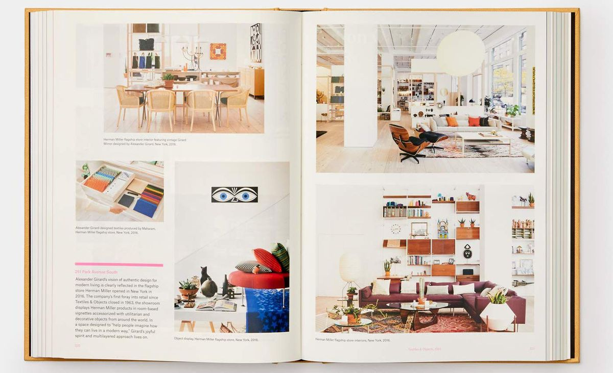A spread from the Herman Miller book showing colorfully decorated rooms of modern furniture.