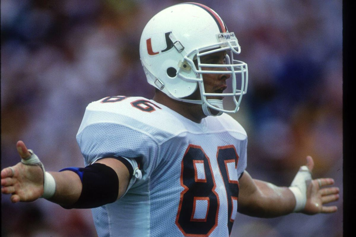 4 SEP 1993:  MIAMI DEFENSIVE END KEVIN PATRICK CELEBRATES DURING THE HURRICANES 23-7 VICTORY OVER TH