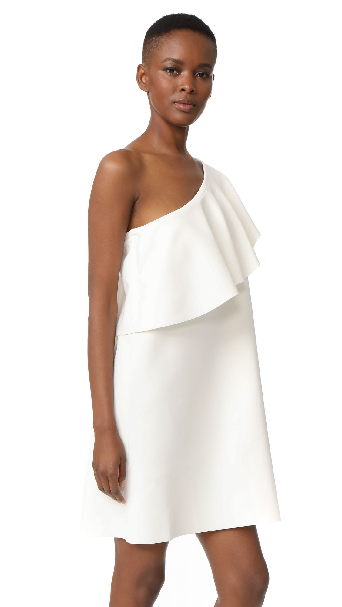 A white one shoulder dress