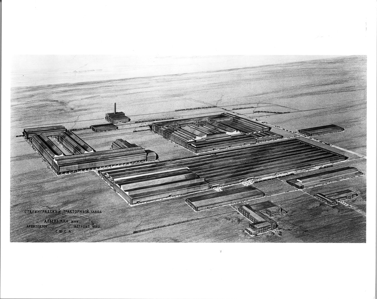 Drawing of a sprawling industrial facility on an open plan. There's writing in Russian in the bottom left corner.