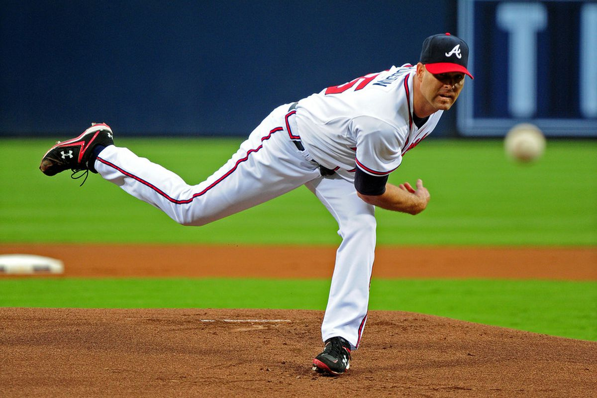 ATLANTA - JULY 15: Tim Hudson #15 of the Atlanta Braves pitches against the Washington Nationals at Turner Field on July 15, 2011 in Atlanta, Georgia. (Photo by Scott Cunningham/Getty Images)