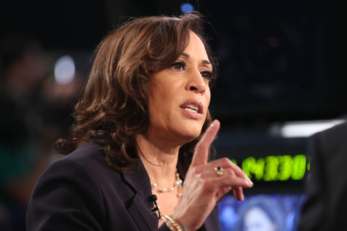 Democratic presidential candidate Sen. Kamala Harris (D-CA) speaks during a television interview after the second night of the first Democratic presidential debate on June 27, 2019 in Miami, Florida