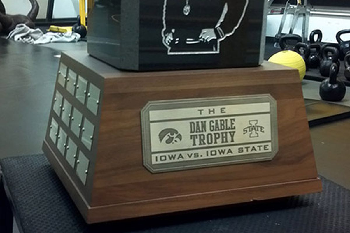 """Iowa is 3-0 since the introduction of the """"Dan Gable Traveling Trophy"""" in 2010."""