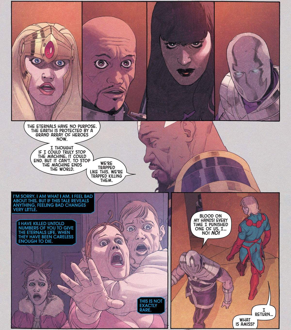 The Eternal Phastos explains his dark discovery to the shocked reactions of the other Eternals: The secret cost of their cycle of resurrection is that every time one of them comes back, a human life is taken as fuel. In Eternals #6 (2021).