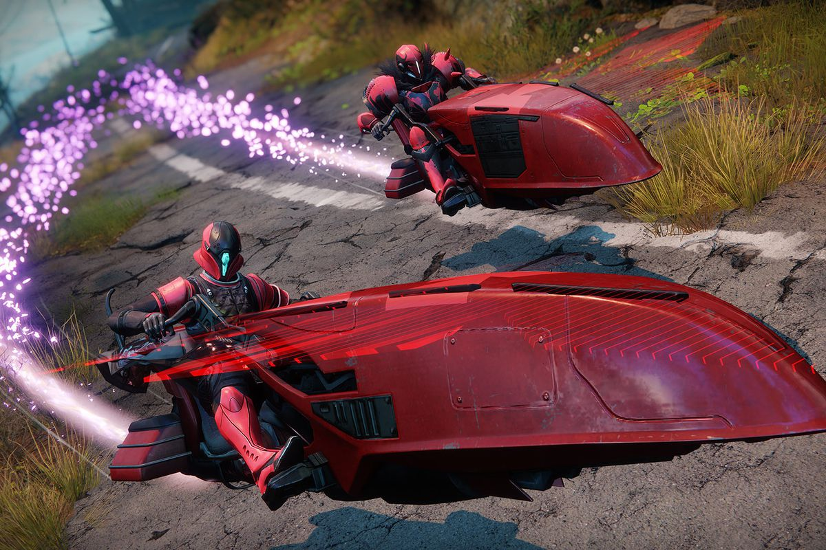 two Guardians in red armor on red Sparrows for Destiny 2's 2020 Crimson Days event