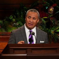 Elder Vaiangina Sikahema, a General Authority Seventy, speaks during the Sunday morning session of the 191st Semiannual General Conference of The Church of Jesus Christ of Latter-day Saints in the Conference Center in Salt Lake City on Sunday, Oct. 3, 2021.