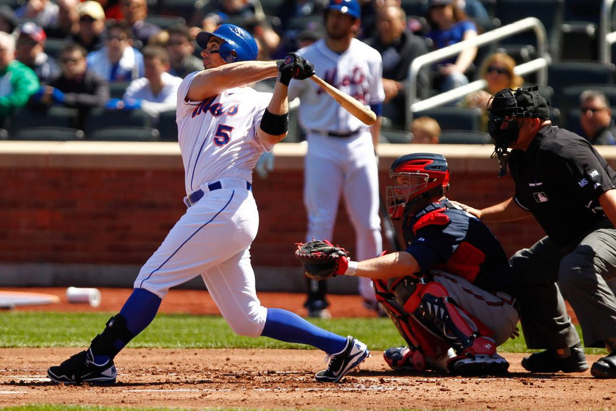 Apr. 7, 2012; Flushing, NY, USA; New York Mets third baseman David Wright (5) hits a solo home run during the first inning against the Atlanta Braves at Citi Field. Mandatory Credit: Debby Wong-US PRESSWIRE