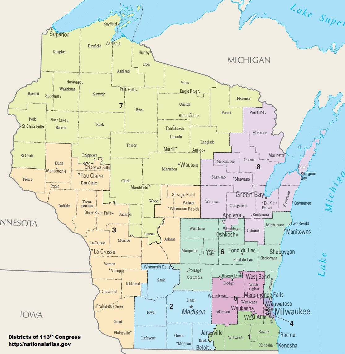 A map of Wisconsin's congressional districts as of 2013.
