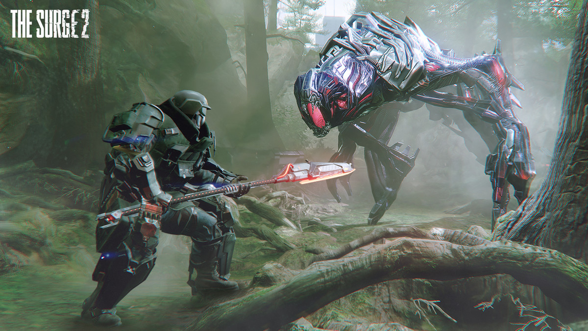 The surge 2 player using a spear