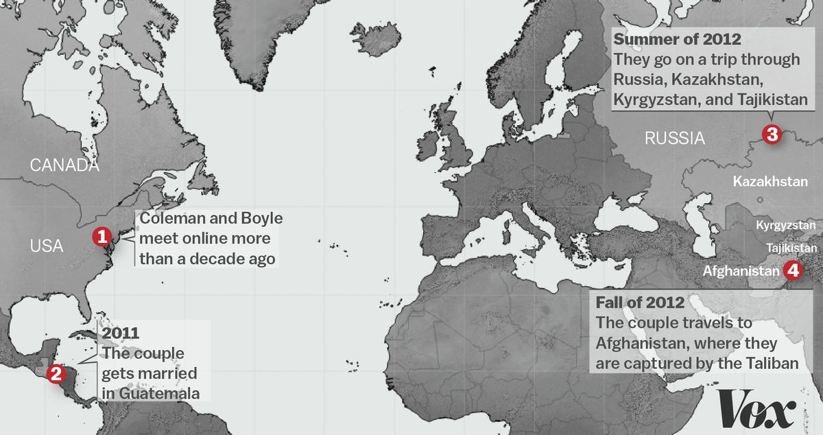 Map of Coleman and Boyle's travels.