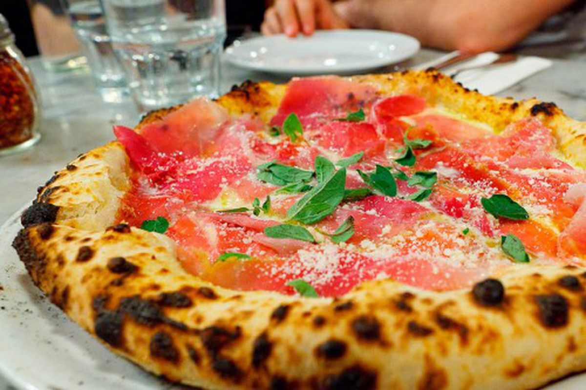 """Motorino prosciutto di Parma pie by  <a href=""""http://www.flickr.com/photos/alifewortheating/5872634173/in/pool-eater/"""">ALifeWorthEating</a>."""