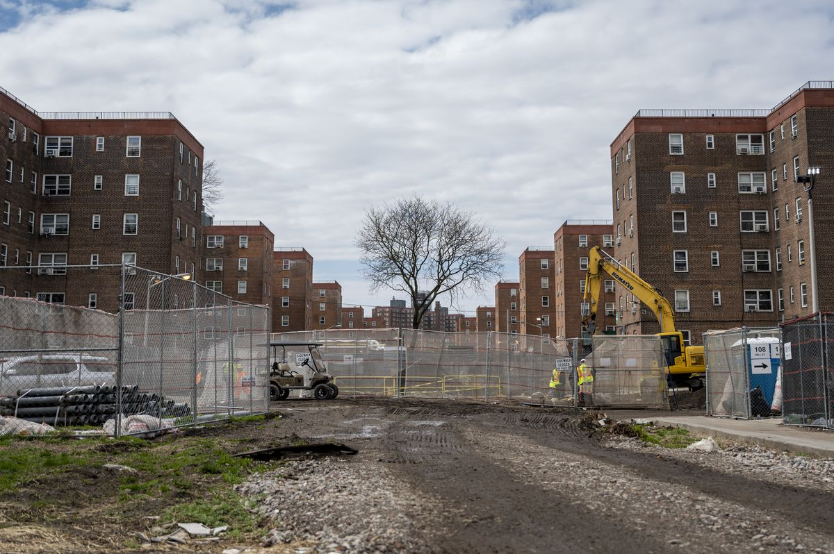 Construction at NYCHA's Red Hook East complex.