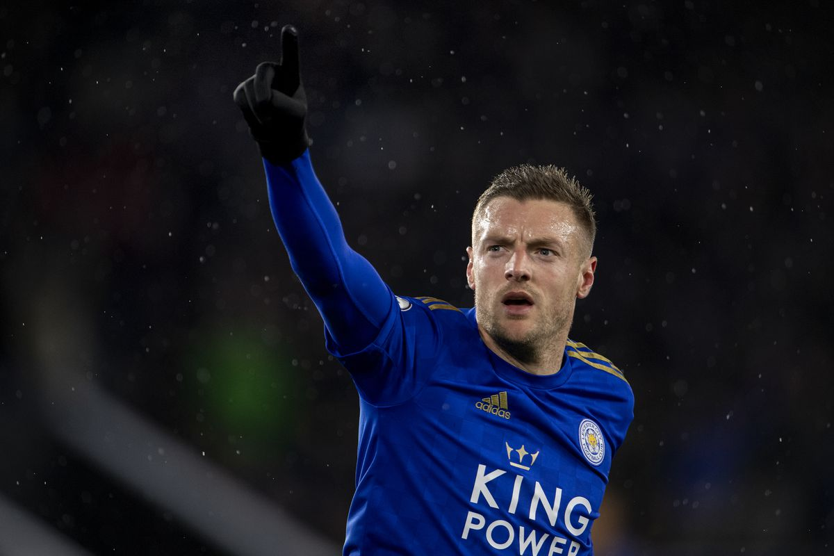 Jamie Vardy of Leicester City celebrates scoring his second goal during the Premier League match between Leicester City and Aston Villa at The King Power Stadium on March 09, 2020 in Leicester, United Kingdom.