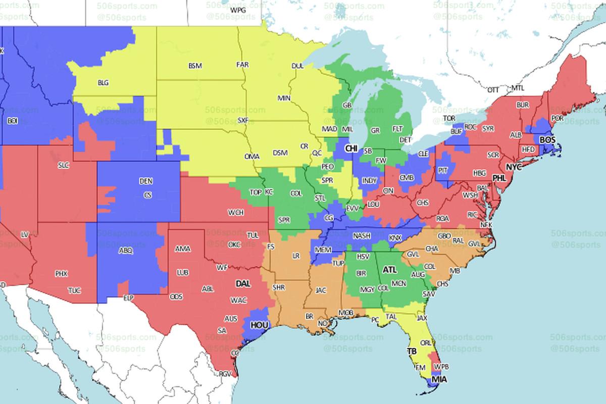 EaglesGiants Game TV Coverage Map Bleeding Green Nation - Bleeding us map
