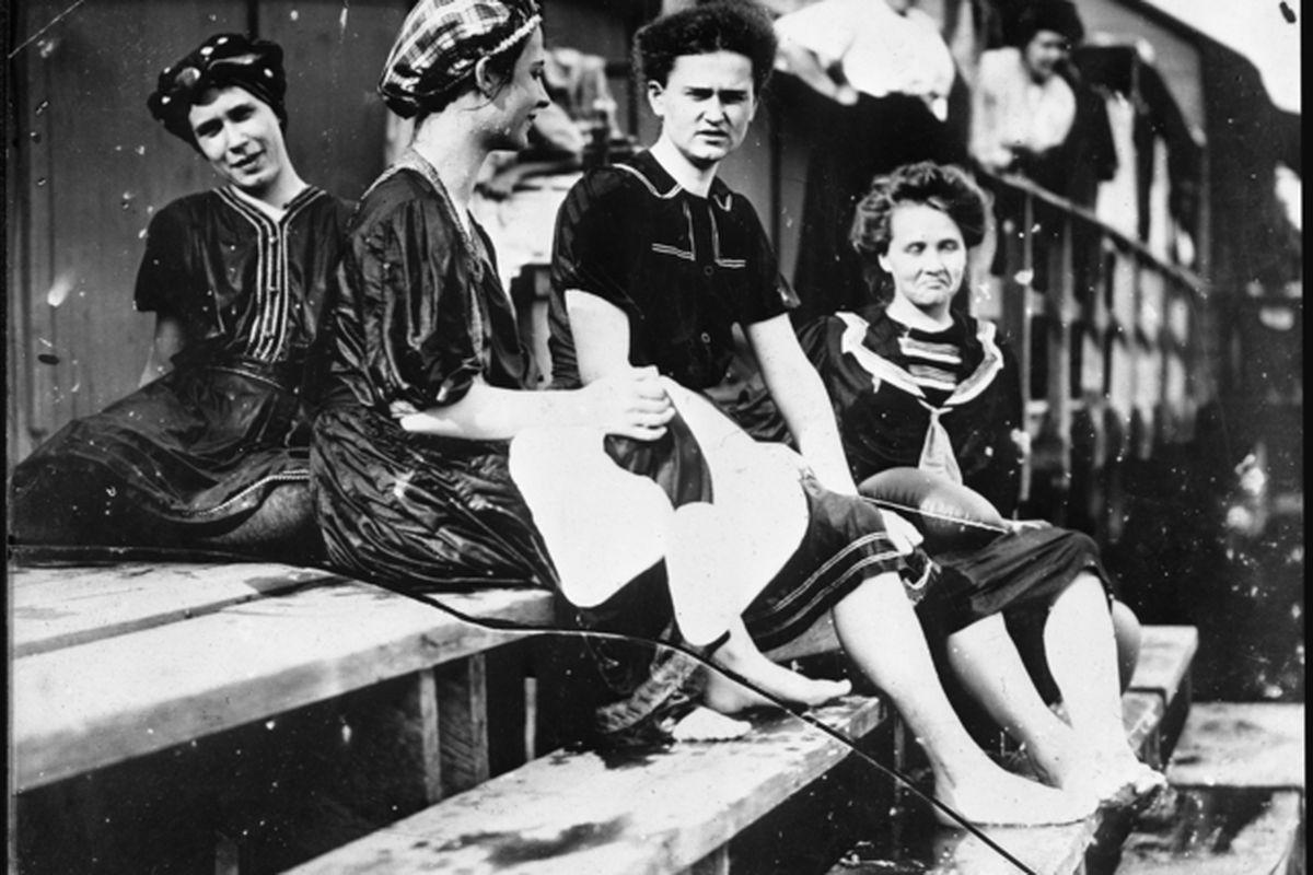 U of M female students swimming at Lake Calhoun, 1899.