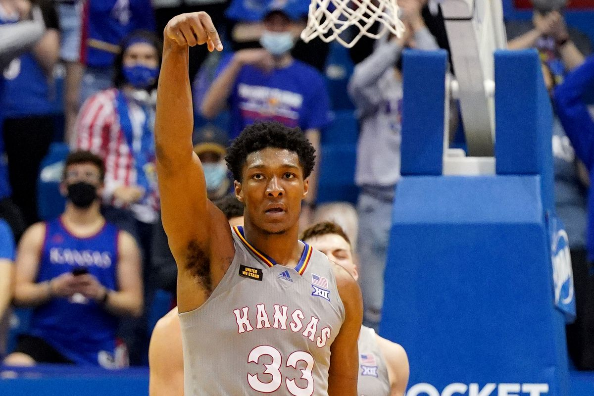 Kansas Jayhawks forward David McCormack celebrates after a score during the second half against the UTEP Miners at Allen Fieldhouse.