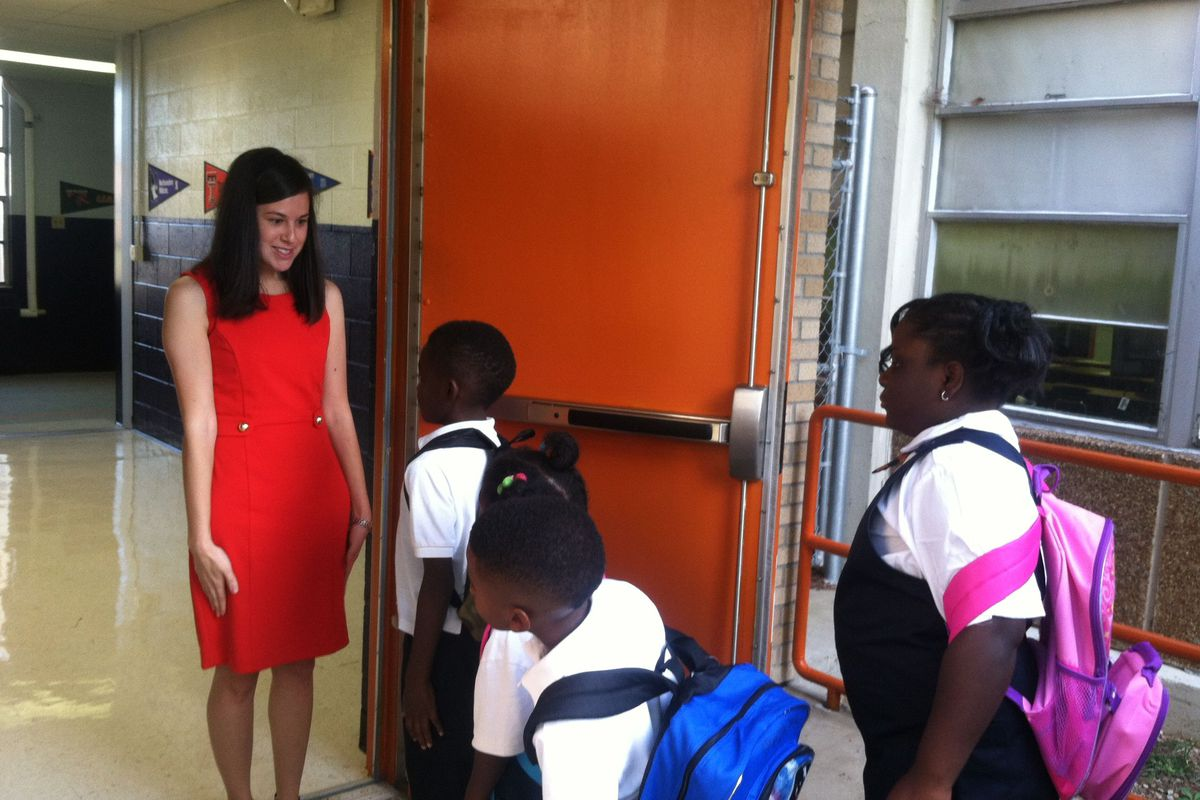 Students and their teacher on the first day of school in 2014 at Freedom Preparatory Academy, a charter school authorized in Memphis by the state's Achievement School District