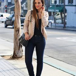 """Melanee of <a href=""""http://www.melaneeshale.com""""target=""""_blank"""">Melanee Shale</a> is wearing a Greylin jacket, Forever 21 jeans, a Dailylook top and bag, <a href=""""http://www.charlotterusse.com/product/Shoes/Boots-Booties/Booties/entity/pc/2115/c/2656/sc/2"""