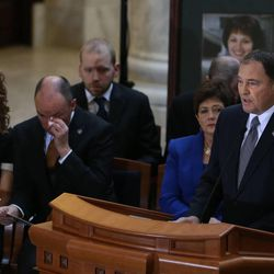 Gov. Gary Herbert speaks at a public memorial service for former Speaker of the House Rebecca Lockhart in the Capitol rotunda in Salt Lake City on Thursday, Jan. 22, 2015. Lockhart died at her home in Provo on Jan. 17, 2015, from a rare brain disease.  Seated are first lady Jeanette Herbert, Lt. Gov. Spencer Cox and his wife, Abby, and Joe Pyrah, chief deputy of the Utah House of Representatives.