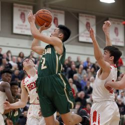 Stevenson's Luke Chieng (2) drives through to score against Benet Academy during their 63-59 loss in Lisle, Saturday, February 16, 2019.   Kevin Tanaka/For the Sun Times