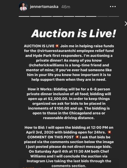 Chef Jenner Tomaska's Instagram Live auction is underway.