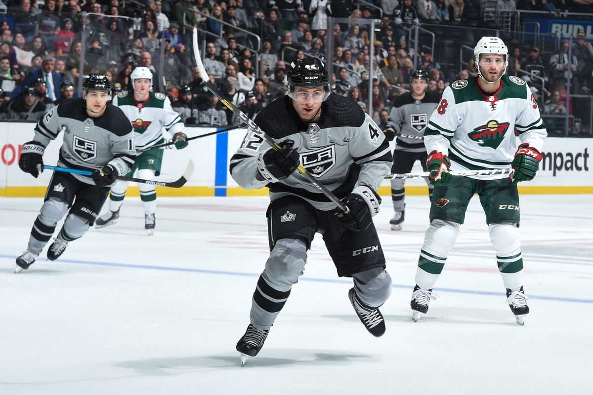 Gabriel Vilardi #42 of the Los Angeles Kings skates during the third period against the Minnesota Wild at STAPLES Center on March 7, 2020 in Los Angeles, California.