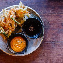 vegetable nest tempura, with sweet potato, parsnips, onion, carrot, and scallion ($9)