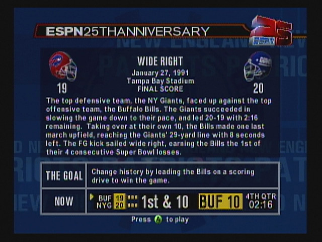 Classic NFL games, as told by 'ESPN 2K5' - SBNation com