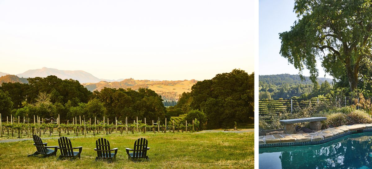 On the left is a yard with four chairs overlooking a vineyard, trees, and mountains in the distance.