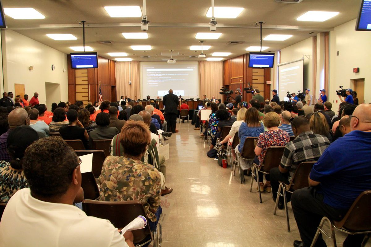 More than 150 people showed up to hear Shelby County Schools board discuss a review of grading irregularities.