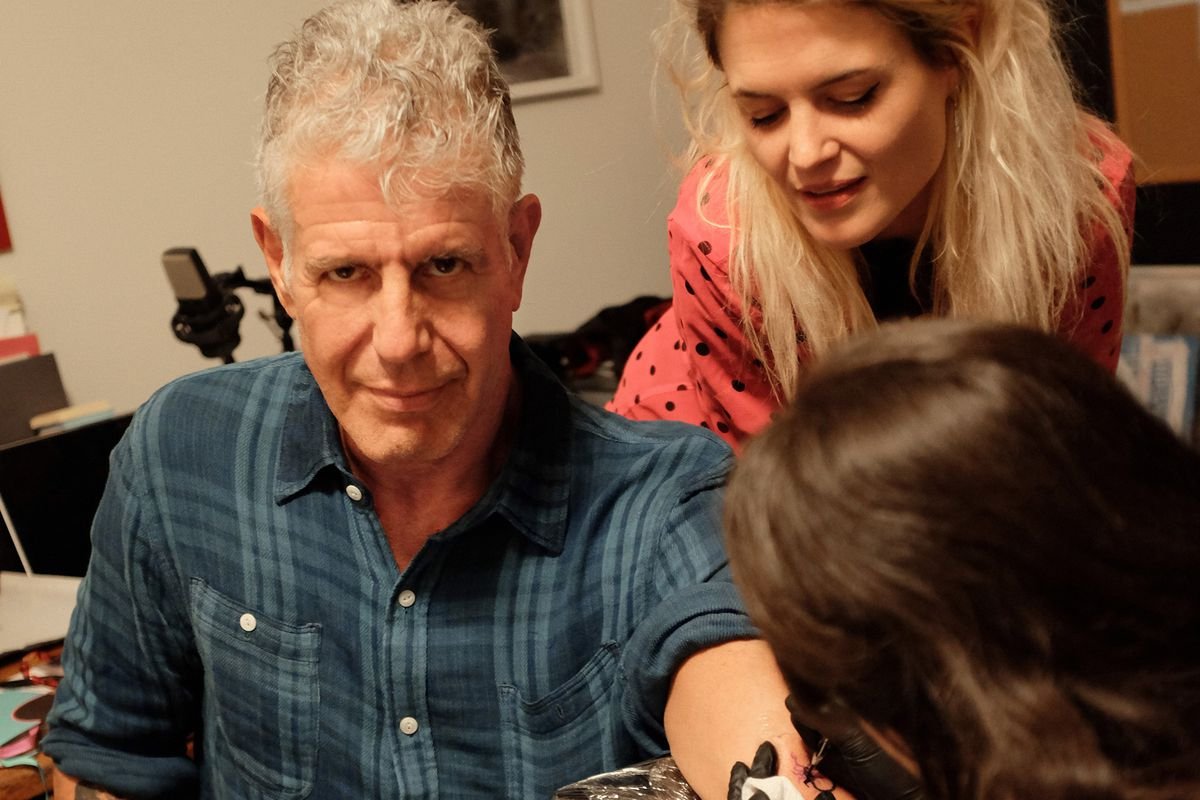 Anthony Bourdain gets a tattoo during a Disgraceland house party scene in the Nashville episode of Parts Unknown.