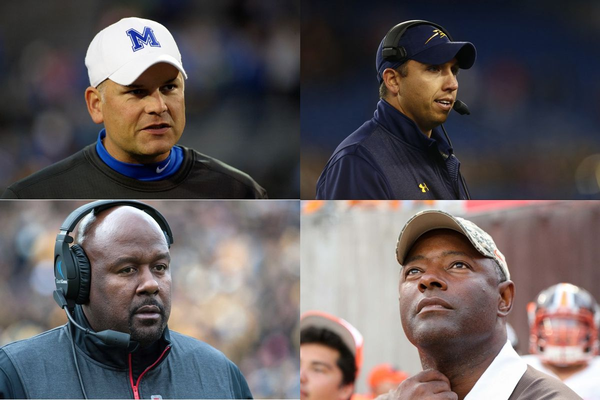 Clockwise from top left: Memphis coach Justin Fuente, Toledo coach Matt Campbell, Bowling Green coach Dino Babers and Maryland interim coach Mike Locksley.