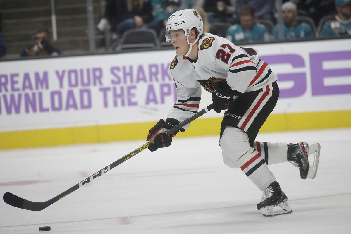 Adam Boqvist played six games and scored his first NHL goal during this first stint with the Blackhawks.