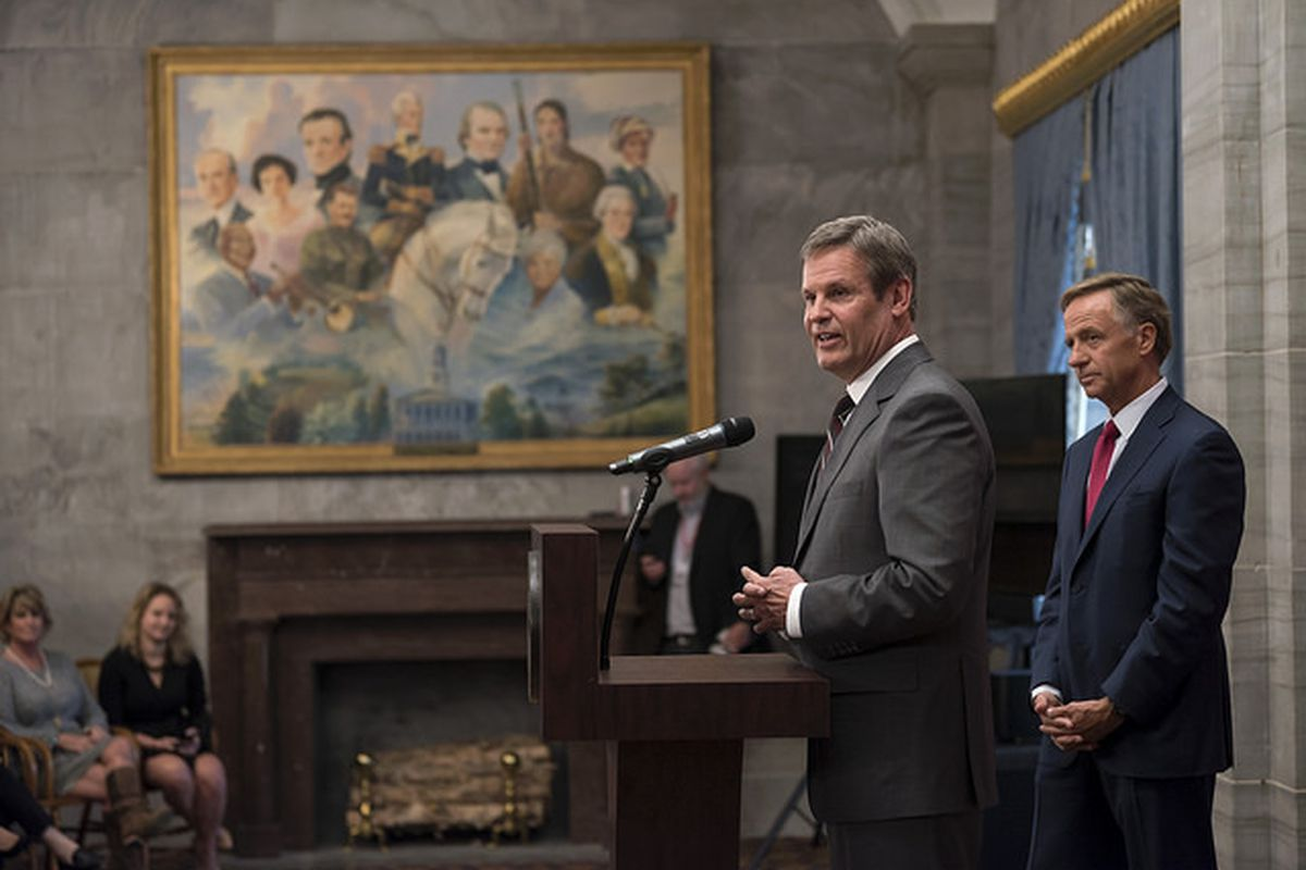 As outgoing Gov. Bill Haslam looks on, Gov.-elect Bill Lee speaks at the state Capitol the day after being elected the 50th governor of Tennessee.