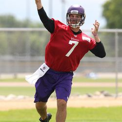 Jul 26, 2013; Mankato, MN, USA; Minnesota Vikings quarterback Christian Ponder (7) throws a pass during training camp at Minnesota State University. Mandatory Credit: Brace Hemmelgarn-USA TODAY Sports