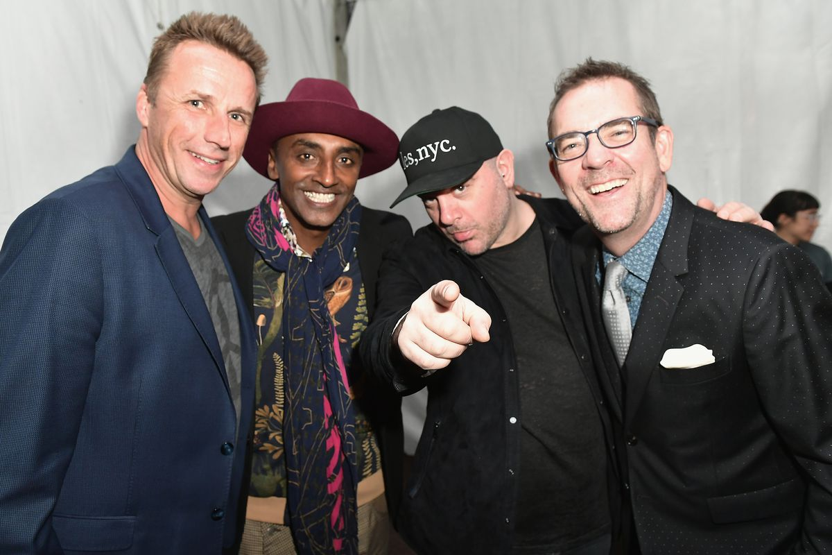 Chefs Marc Murphy, Marcus Samuelsson, Chris Santos and Ted Allen attend The Food Network & Cooking Channel New York City Wine & Food Festival Presented By Coca-Cola - Smorgasburg presented by Thrillist hosted by the Cast of Chopped at Pier 92 on October 12, 2017 in New York City.