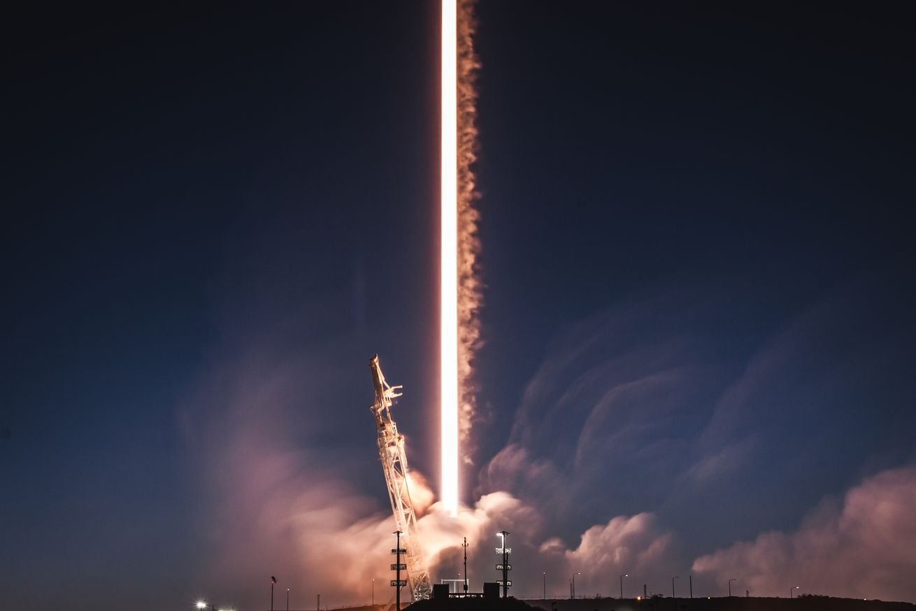 <em>A SpaceX Falcon 9 rocket launching two of the company's test Starlink satellites in February.</em>