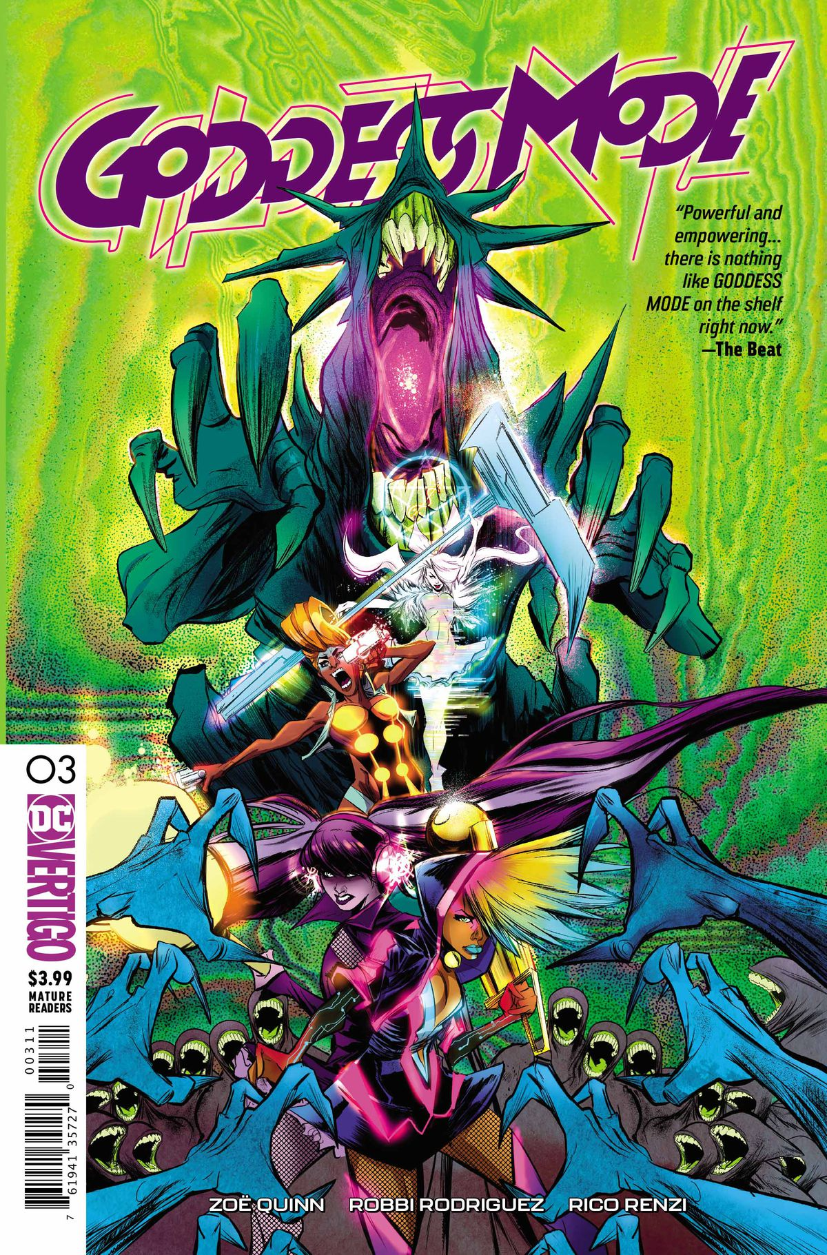 The cover of Goddess Mode #3, DC Vertigo (2019).