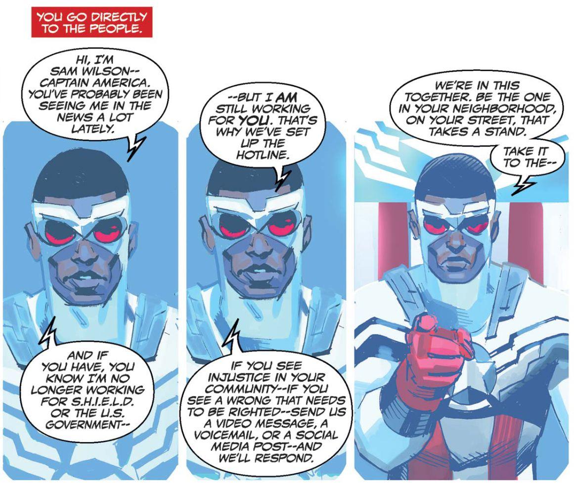 Sam Wilson le dice a la gente que ahora es el Capitán América en Marvel Comics, y que no trabaja para SHIELD o el gobierno de EE. UU., En Capitán América: Sam Wilson # 1, & nbsp; Marvel & nbsp; Comics (2015).
