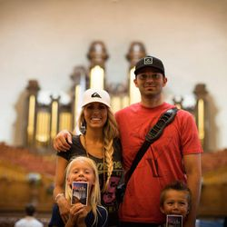 Greg Trimble, his wife Kristyn and their two children visit the Salt Lake Tabernacle.