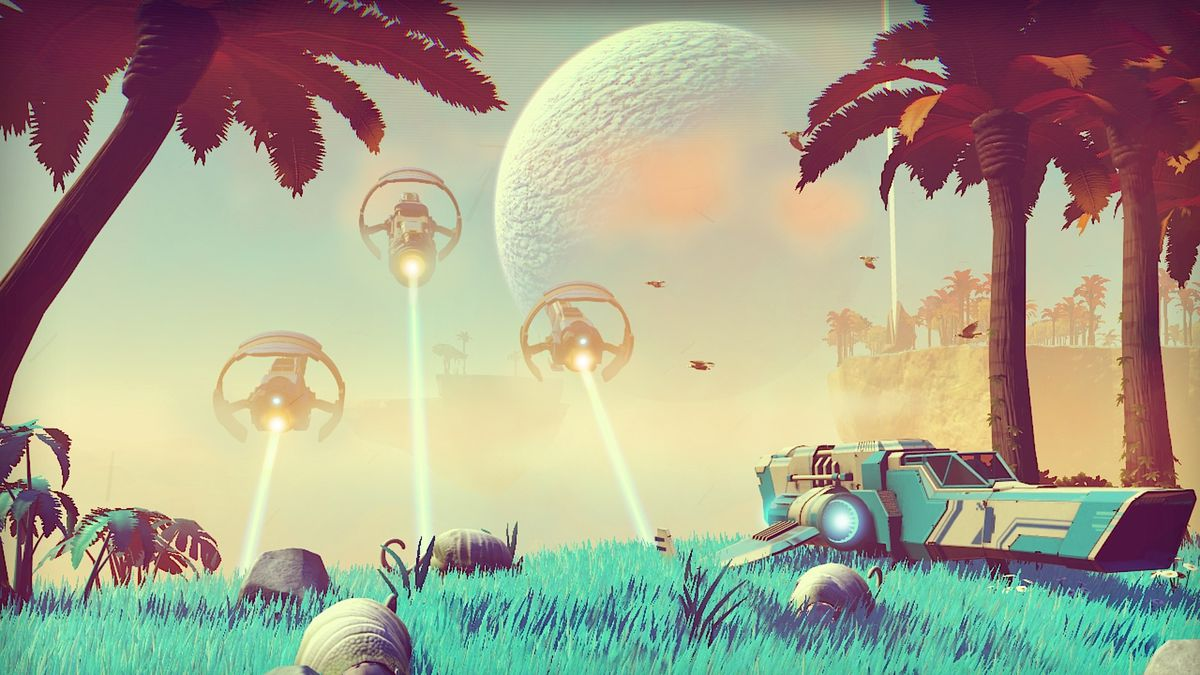 No Man's Sky-- an alien world with three spaceships taking off in the background