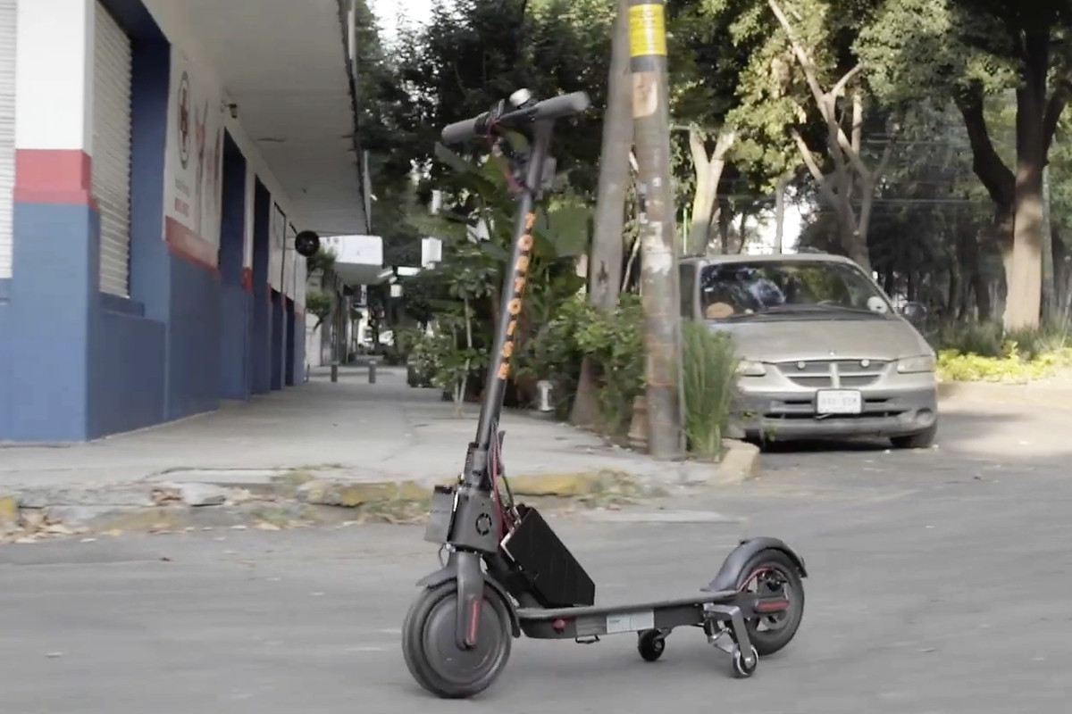 A picture of an e-scooter driving itself.